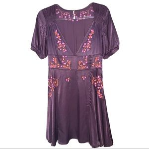 FREE PEOPLE | Satin Embroidered Button Dress 4